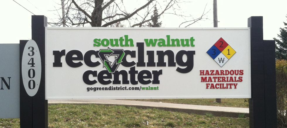 South Walnut Recycling Center Sign by Delphi Signs