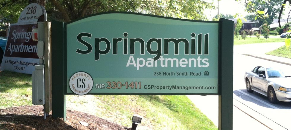 Springmill Apartments Sign by Delphi Signs